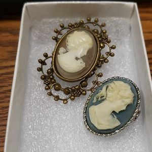 Vintage Jan Michaels Brass Cameo and a Gold Tone